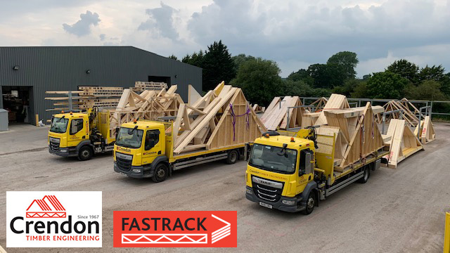 Crendon FASTRACK HGVs fully loaded with Roof Trusses and Spandrel Panels