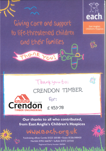 Thank you to everyone at Crendon for your donation to the East Anglia's Children's Hospices