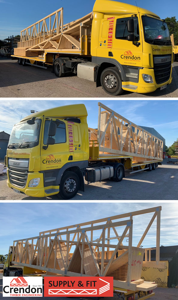 A complex 15m Span Mono Truss Roof for a new Office/Commercial Building in Norwich all delivered 100% On Time in Full this week