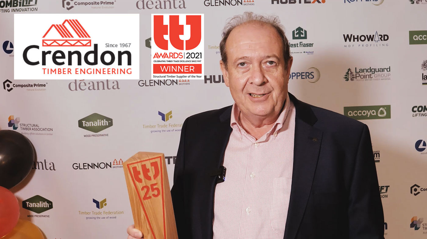 Crendon Timber Engineering win the Structural Timber Systems Supplier of the Year Award at the 2021 TTJ Awards